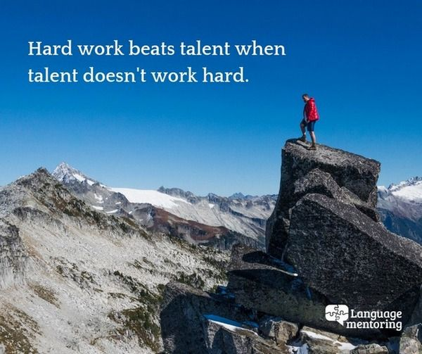 Quote saying: Hard work beats talent if talent doesn't work hard