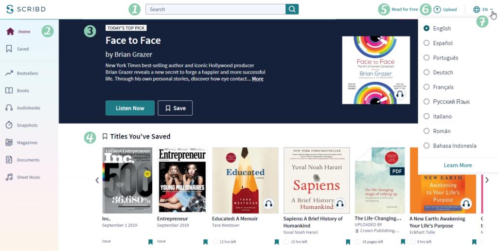 Scribd has avery simple user interface