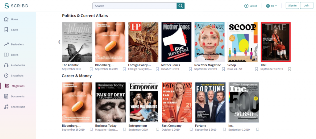 Scribd offers avariety of magazines too